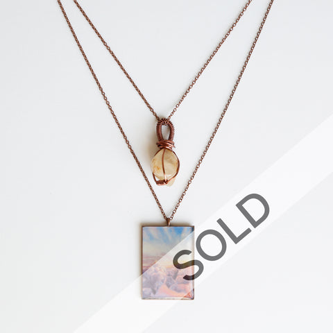 Moonstone Sunrise Antique Copper Necklace