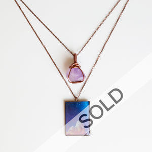 Amethyst Night Antique Copper Necklace