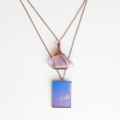 Amethyst Air Antique Copper Necklace