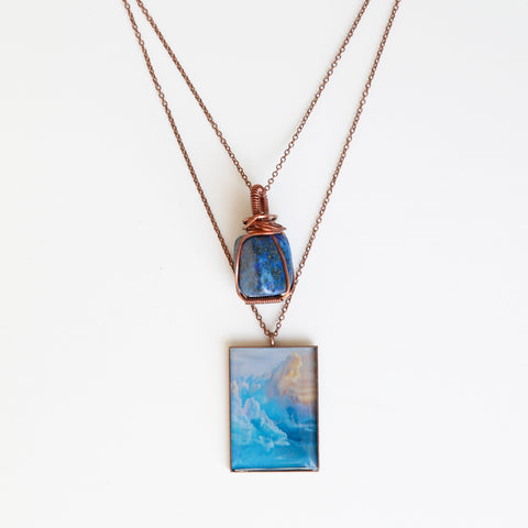 Blue Candy Skies Antique Copper Necklace