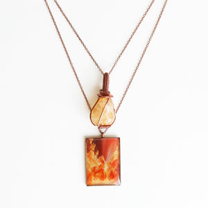 Citrine Sunset Antique Copper Necklace