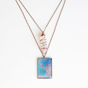 Cotton Candy Dream Antique Copper Necklace