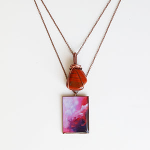 Red Jasper Skies Antique Copper Necklace