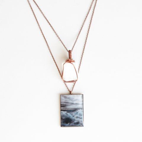 Selenite Skies Antique Copper Necklace