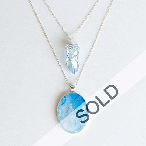 Aqua Aura Skies Silver Necklace
