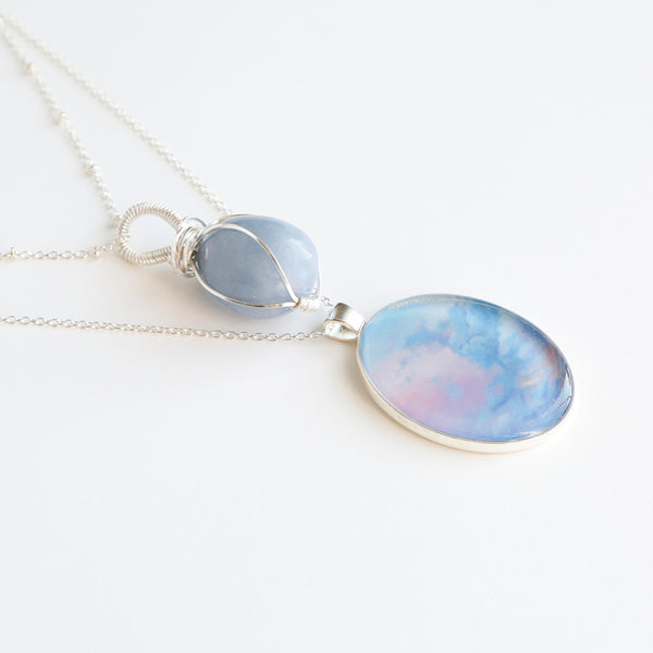 Angelite Skies Silver Necklace