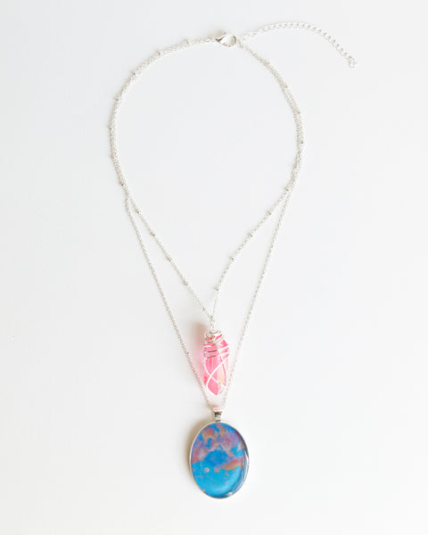 Cotton Candy Moon Silver Necklace