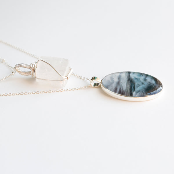 Selenite Skies Silver Necklace