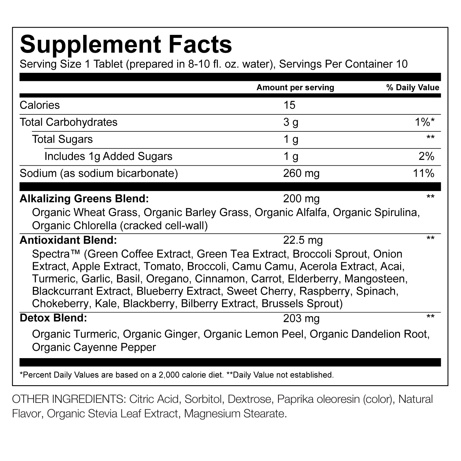 Orange Detox Green Superfood Effervescent Nutritional Information By Amazing Grass