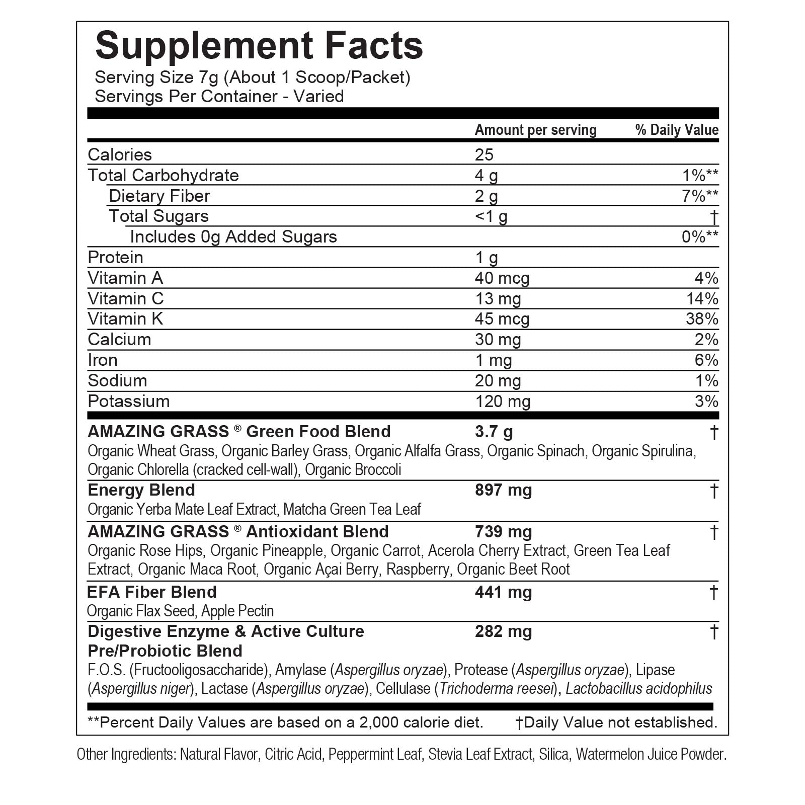 Watermelon Green Superfood Nutritional Info By Amazing Grass