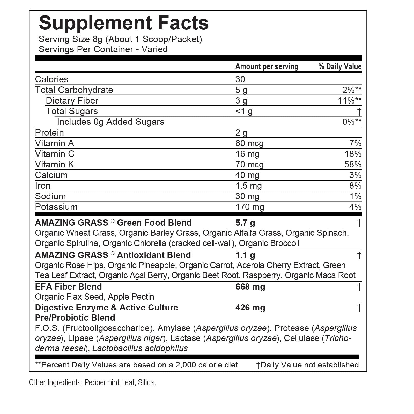 Daily Greens Supplement Nutritional Info By Amazing Grass