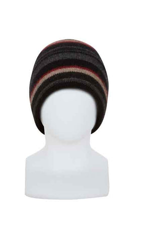 Multi colour striped beanie. Possum merino.