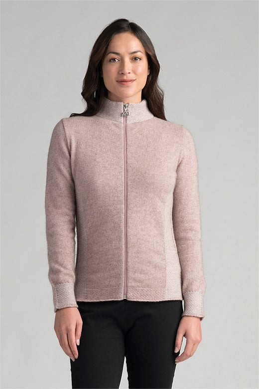 Ladies Full Zip jacket. Long sleeves with ribbed cuffs and waist.  Rib pattern down the sides. Possum Merino.
