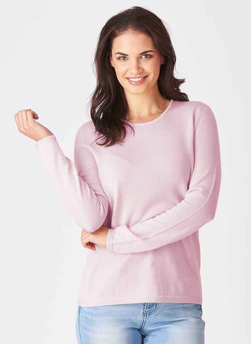 Women's crew neck long sleeved jumper.  Available in many colours. 100% Super fine Merino wool.