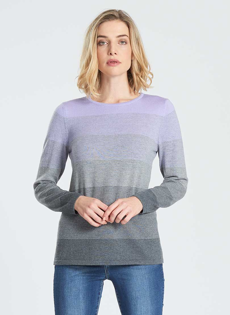 Ladies crew neck long sleeve jumper. Graduated colour horizontal stripes lighter at the neck going to darker at base.