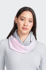 Ladies scarf sewn in one continuous loop. Wrap once or twice around neck. Falls into perfect ring shape