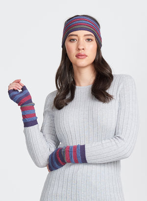 Ladies headband for warm ears. Multi stripe in 100% Merino wool.