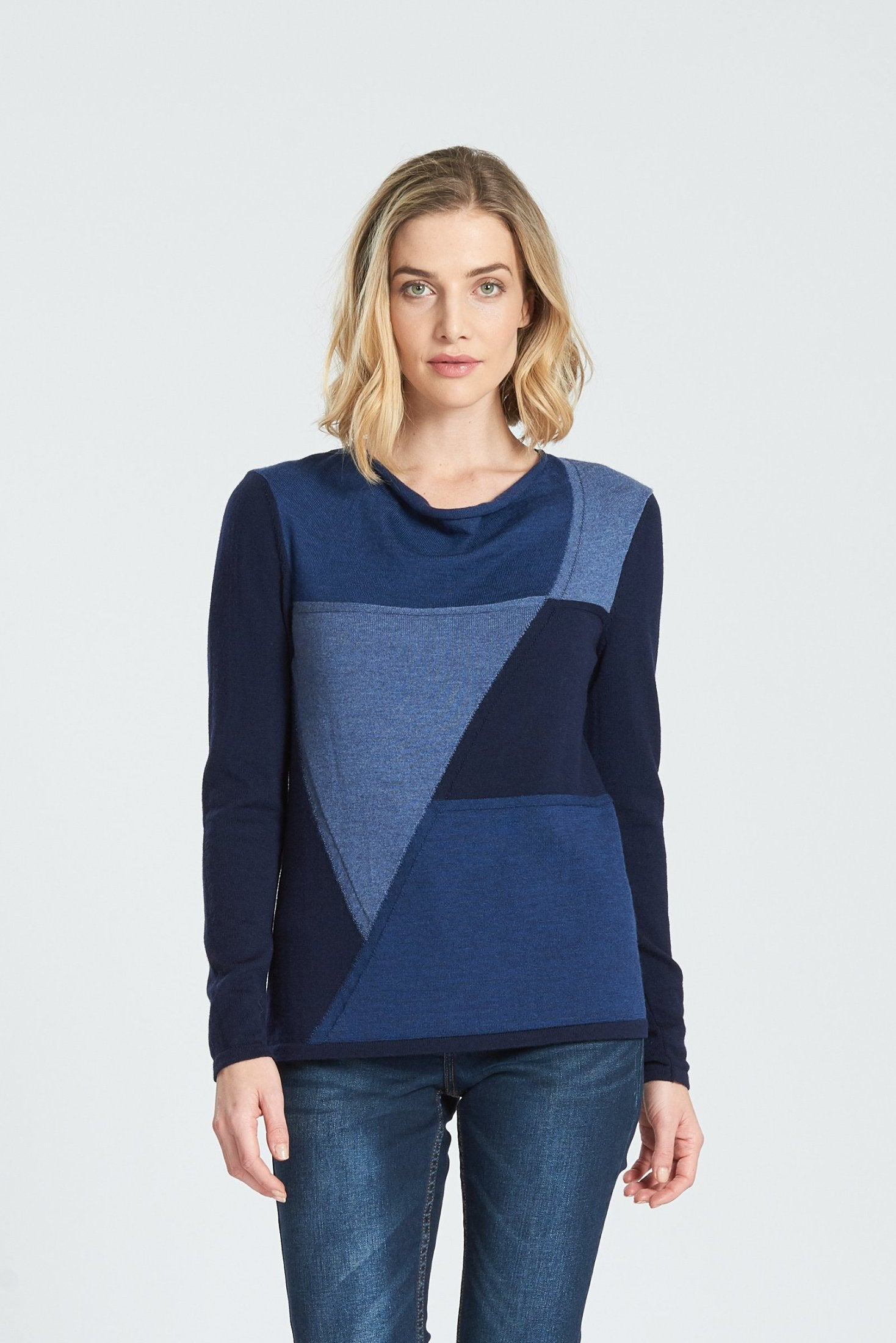 Long Sleeved Drape Neck Intarsia Jumper