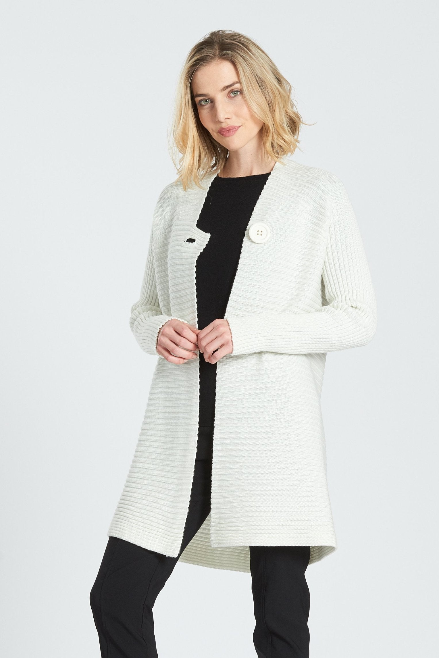 Long Sleeved V Neck Rib Coat