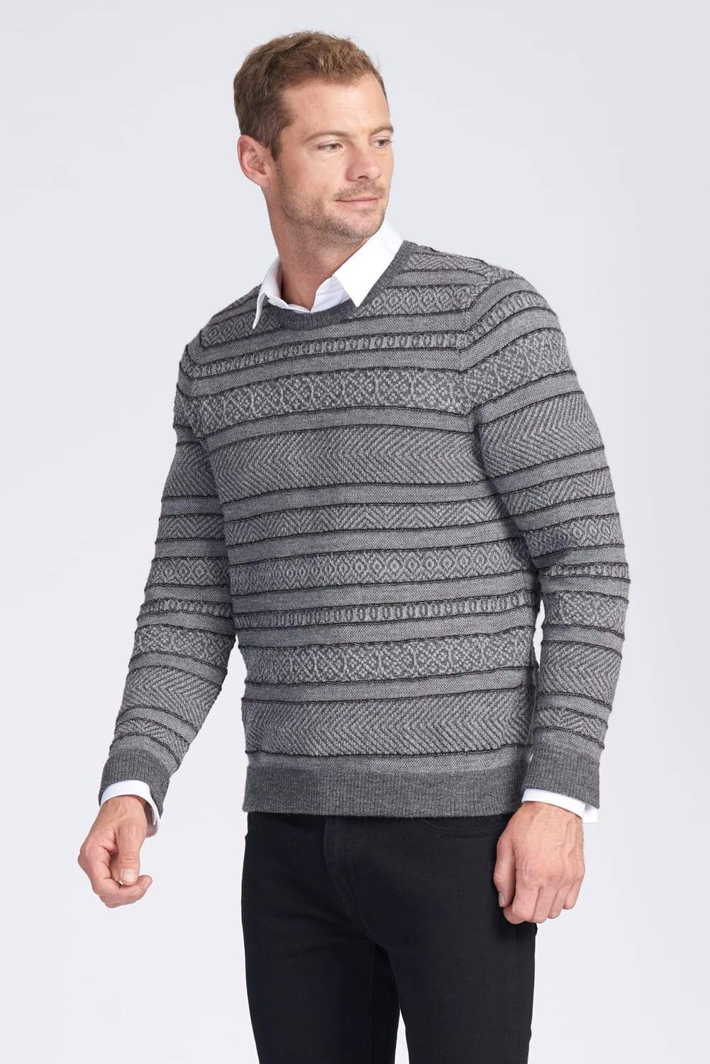 Mens Long Sleeve Crew Neck Jumper. Jacquard pattern. 100% Baby Alpaca fibre.