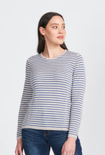 Ladies jumper, crew neck, regular stripes. Long sleeve 100% Merino. Tuck stitch embellishment.