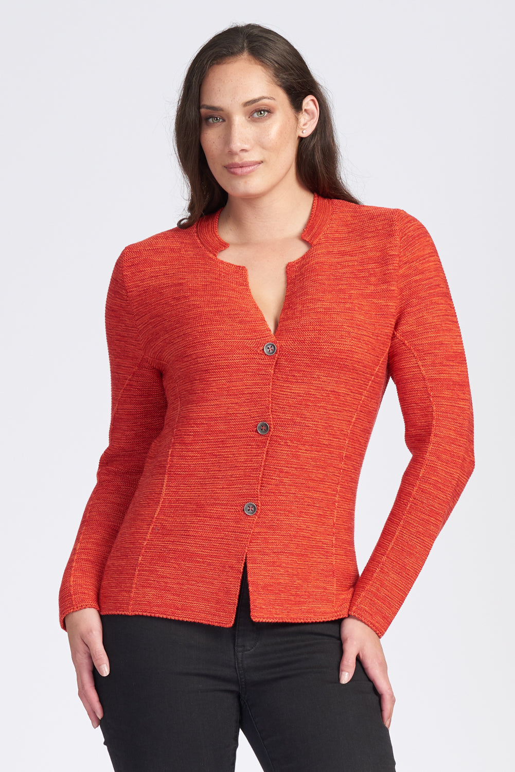 Ladies button front jacket in Marle knit.