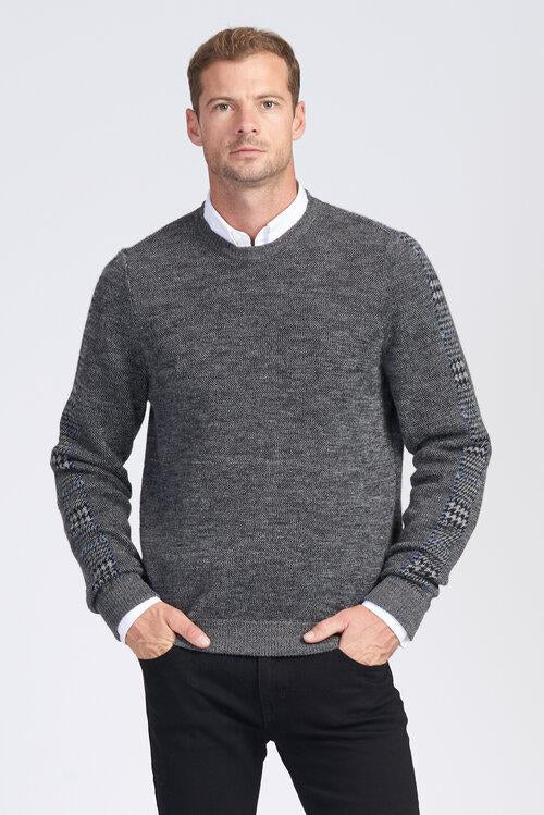 Mens Jumper with Houndstooth design on sleeves. Crew neck.  100% Baby Alpaca fibre.