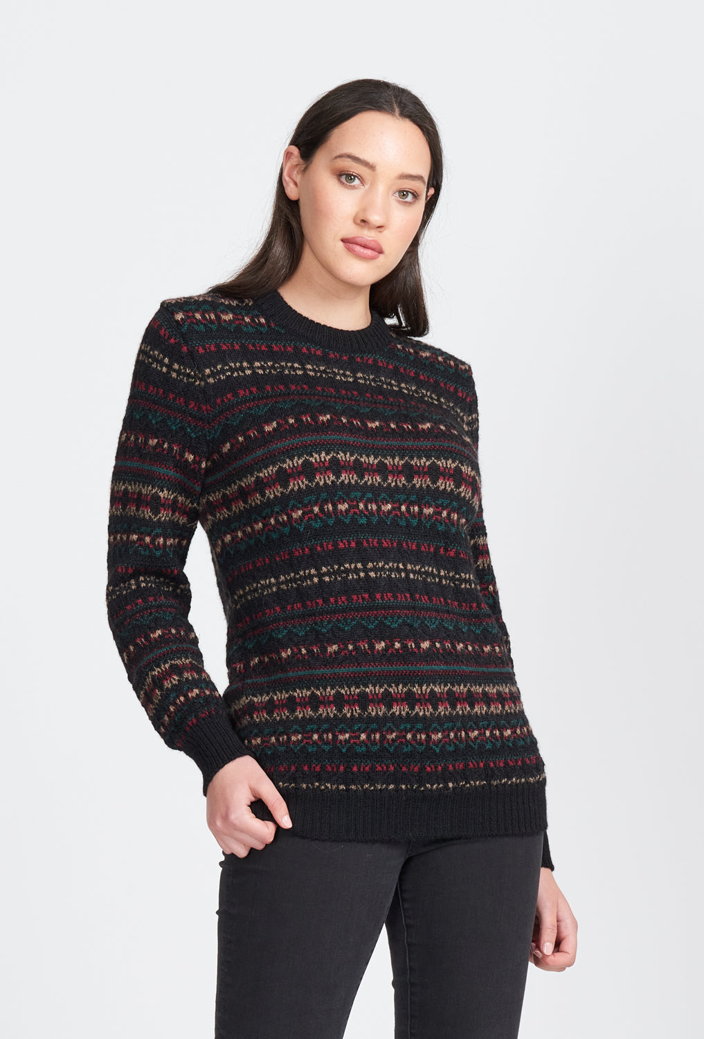 Unisex Jumper. Long sleeve, crew neck, ribbed cuffs and waist band. Fairisle pattern in 100% Alpaca wool.