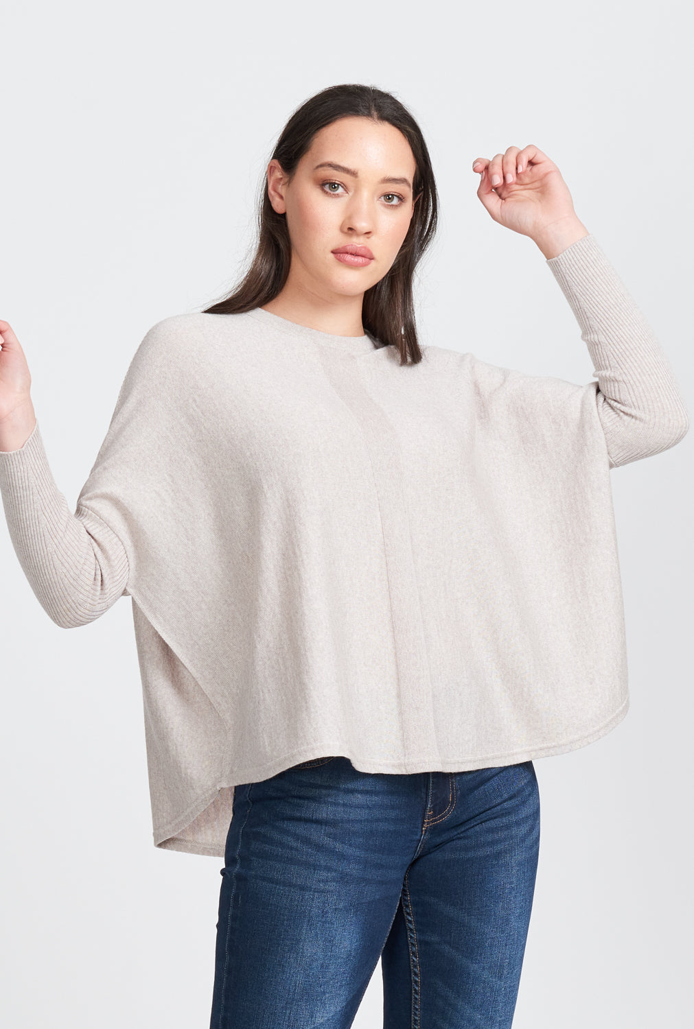 Ladies oversized ribbed sleeve Jumper.