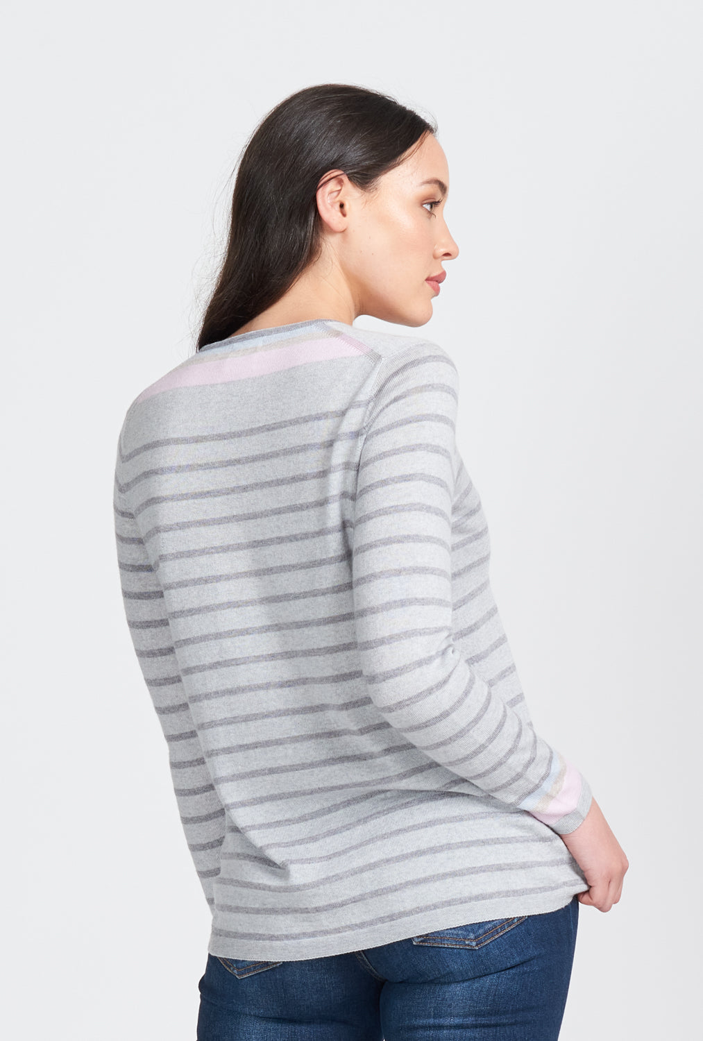 Womens crew neck jumper. Horizontal stripes with three colour contrast cuffs. Long sleeve. 100% Superfine merino fibre.