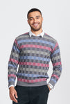 Mens crew neck, long sleeve jumper. Weave pattern multi coloured. Merino Wool Jumper.