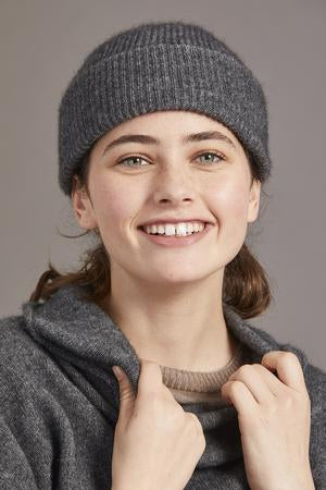 Fine ribbed unisex beanie, hat. Deep turned back edge. Possum merino wool knit.