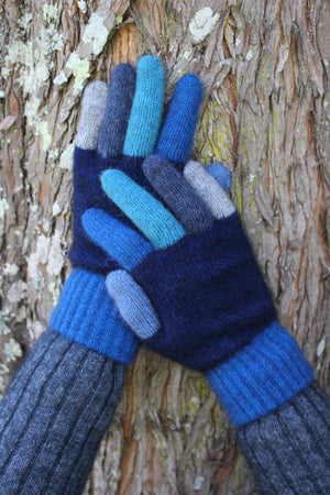 Gloves with multi coloured fingers and cuff. Possum Merino wool blend.