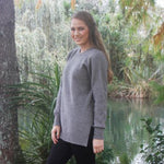 Ladies longer length crew neck jumper with side splits at the hem. This is a tunic shape, easier fit. Possum merino blend.