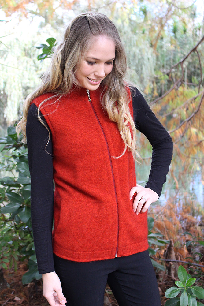 Ladies Possum merino full zip vest. No sleeves.