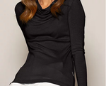 Ladies long sleeve cowl neck jumper. Machine washable Merino.