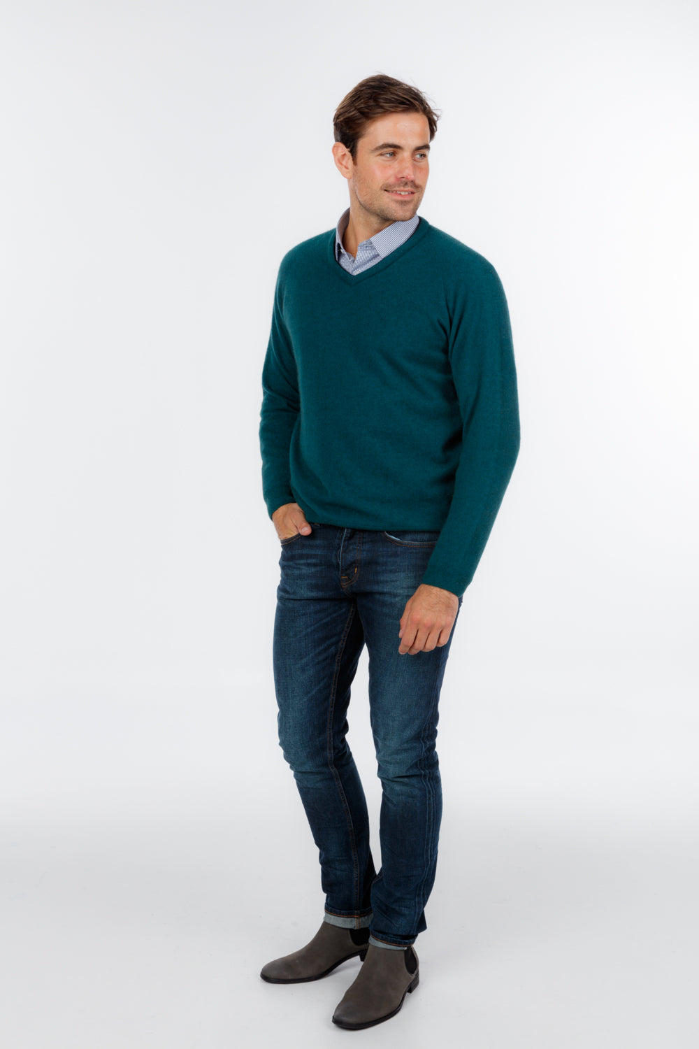 Mens V Neck sweater. Long sleeves with ribbed cuff and waist band.