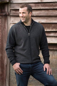 Mens Long sleeve jacket. Full zip front, ribbed cuffs and sleeves. Possum Merino.