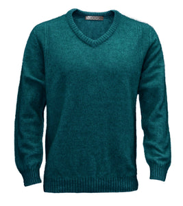 Mens V Neck Jumper. Long sleeves, ribbed cuffs and waist. Possum Merino Wool