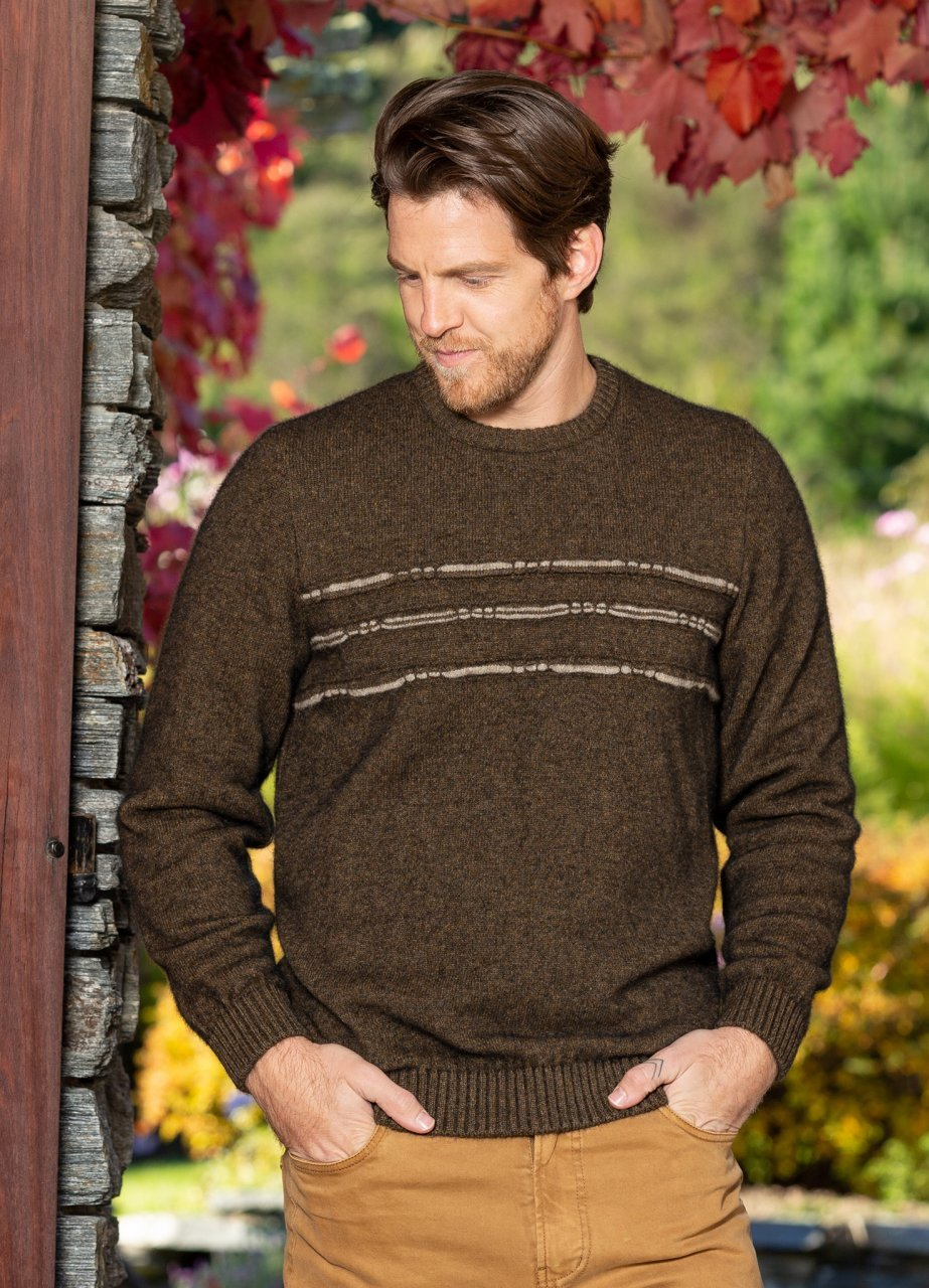Mens Possum Merino Jumper. Long sleeve with ribbed cuffs and waist. Horizontal stripes over chest.