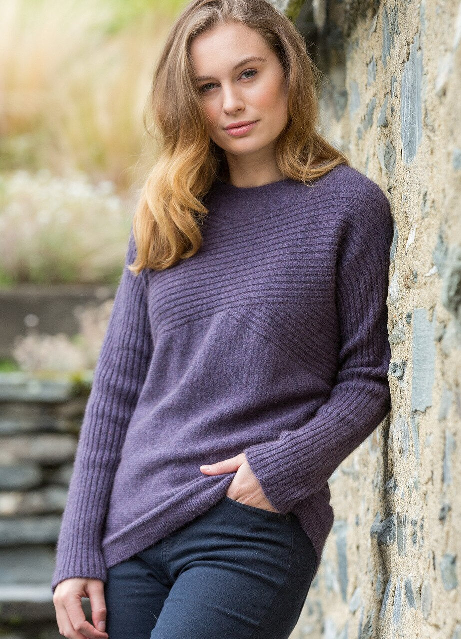 Ladies Possum merino jumper. Long sleeve with crossover rib pattern. Longer style loose fit.