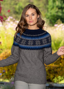 Ladies Fairlsle patterned jumper. Possum Merino with long sleeves, ribbed cuffs and waist.