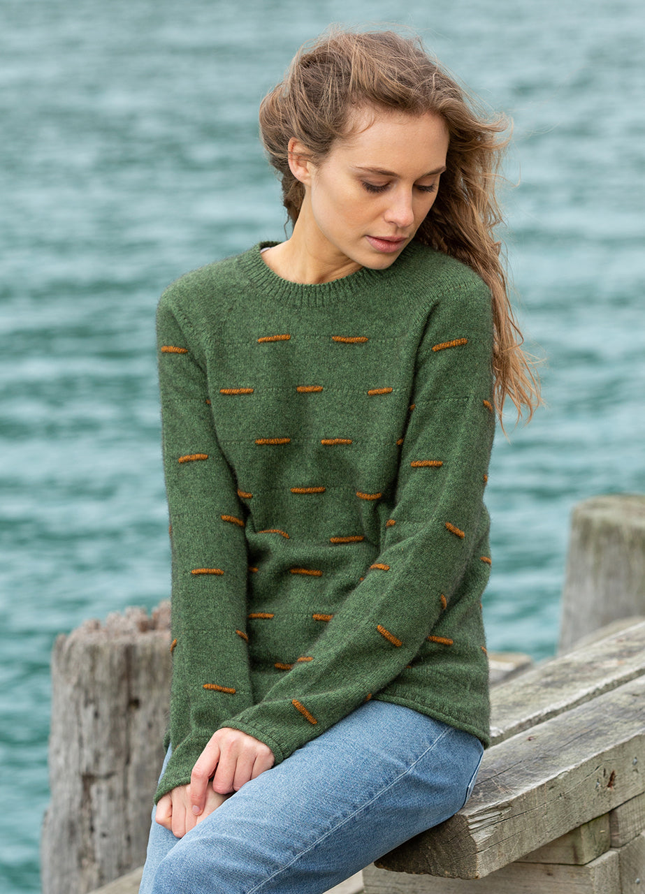 Ladies Possum Merino Jumper. Long sleeves with ribbed waist and cuffs. Morse code pattern.