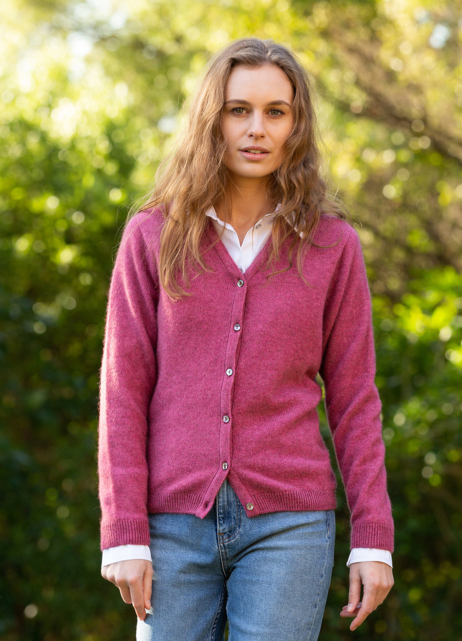 Ladies Cardigan. Possum merino, Vee neck, full button front with ribbed cuffs and waist band.