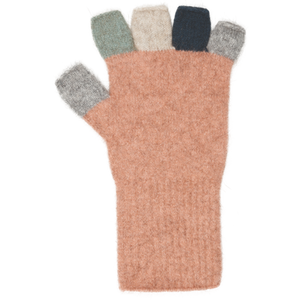 Possum Merino fingerless gloves. Hand section is one colour and fingers are different colours.