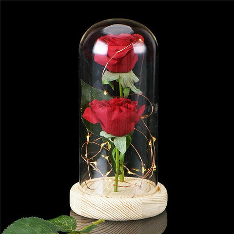 Forever Rose Glowing Flower Immortal Fresh Rose in Glass Bright Color For Holiday Birthday Romantic Gift