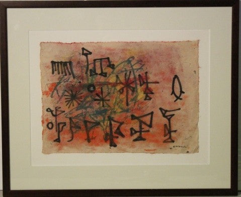 ORIGINAL HILDA COATES ALTSCHULE ABSTRACT MIXED MEDIA PAINTING ON HAND MADE PAPER