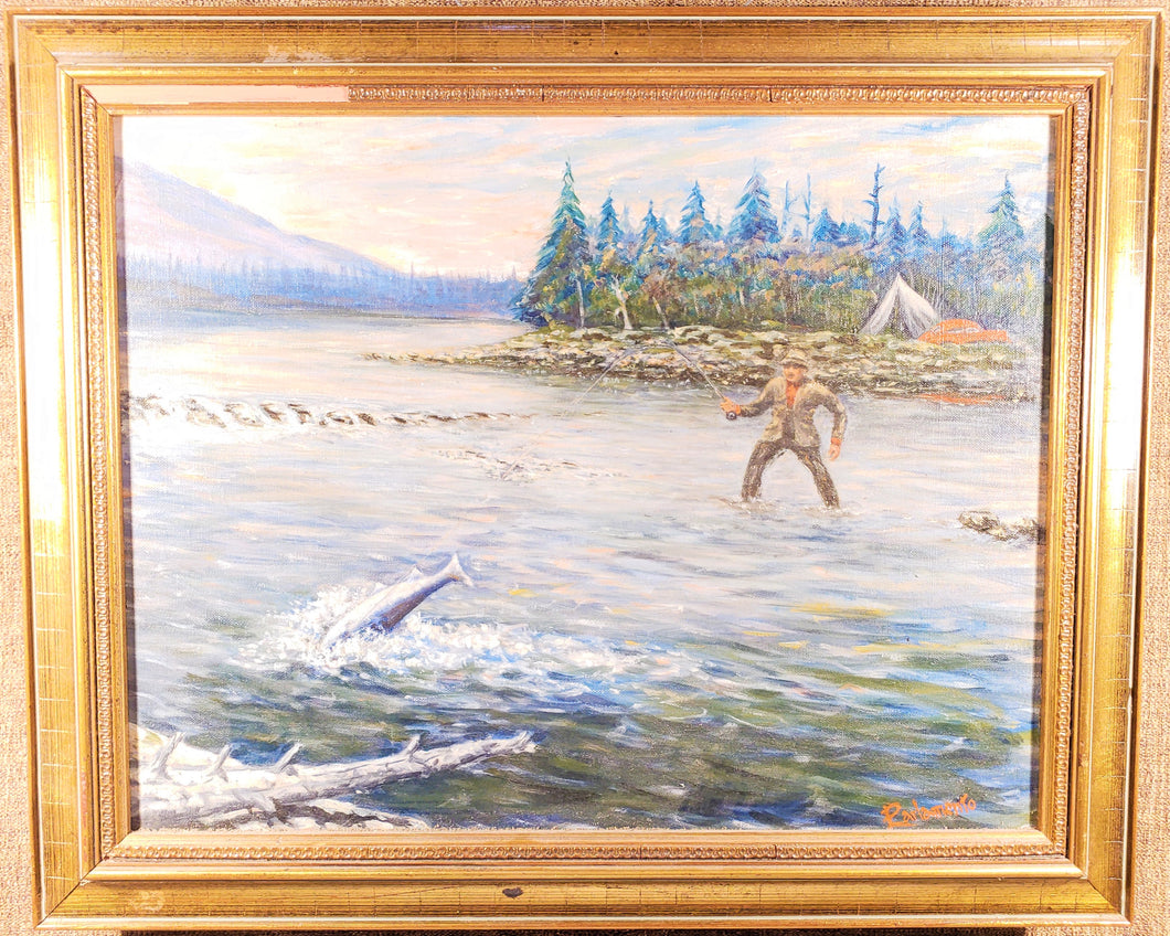 MID CENTURY FLY FISHING PAINTING, OIL ON BOARD, ARTIST SIGNED,