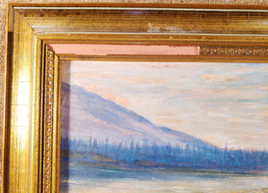 "MID CENTURY FLY FISHING PAINTING, OIL ON BOARD, ARTIST SIGNED, ""PARLAMENTO"""