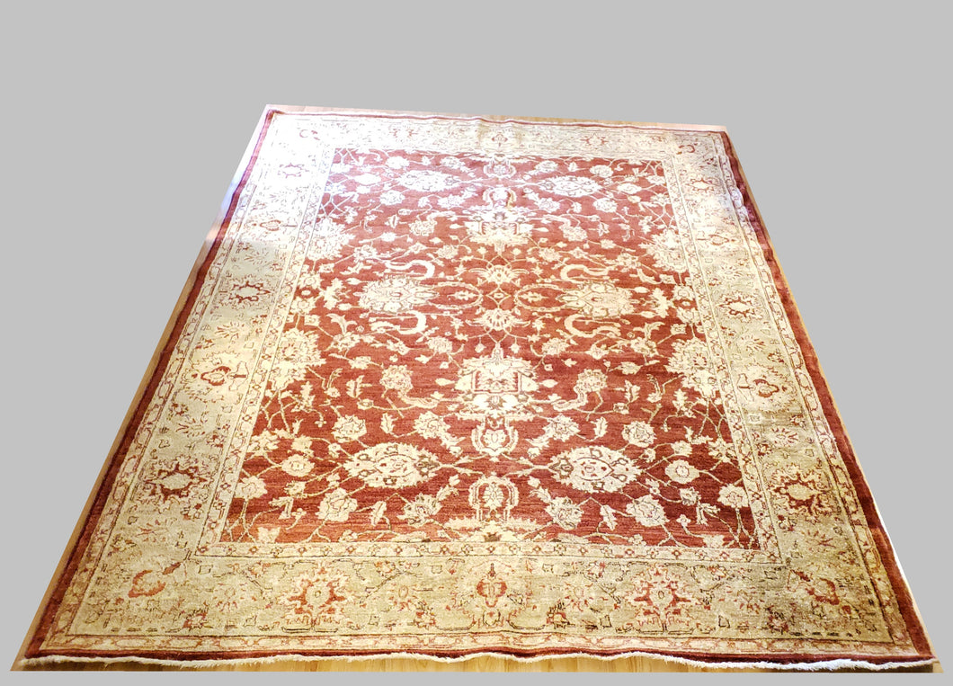 ANTIQUE/VINTAGE AGRA, INDIA TURKMEN HAND KNOTTED WOOL RUG/CARPET 8' 1